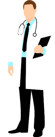 cartoon image of a doctor in a white coat with clipboard